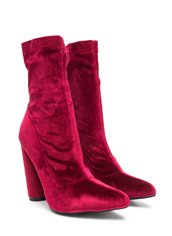 Point This Way Chunky Velvet Booties WINE