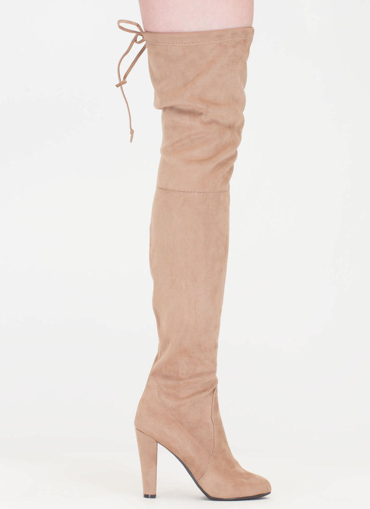 Pull Some Drawstrings Thigh-High Boots NATURAL