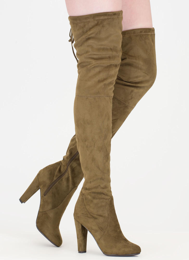Pull Some Drawstrings Thigh-High Boots OLIVE