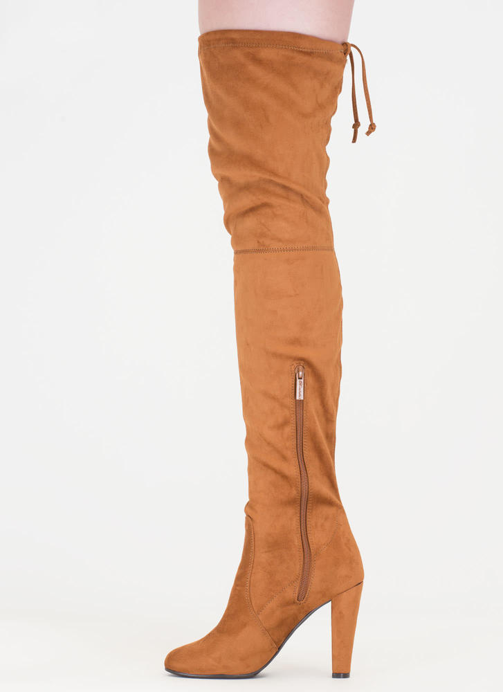 Pull Some Drawstrings' Thigh-High Tie-Back Boots - Black, Natural ...