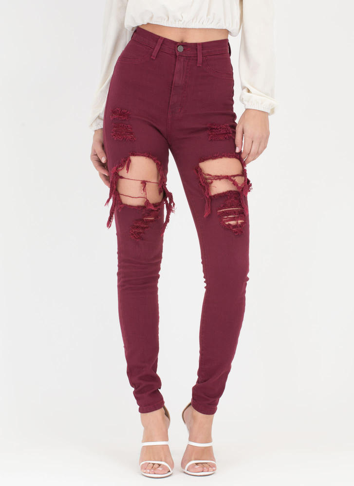 In A Stride Distressed Skinny Jeans BURGUNDY