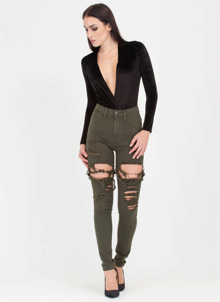 In A Stride Distressed Skinny Jeans OLIVE