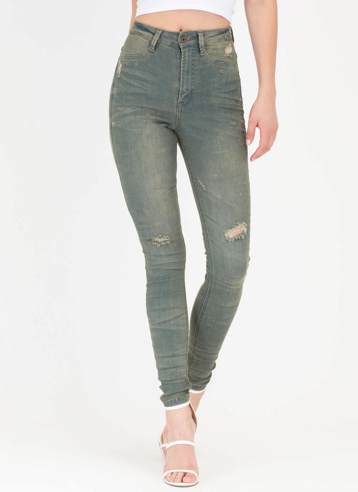 Tell Me About It Distressed Skinny Jeans OLIVE (Final Sale)