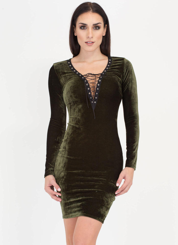 Coven Cutie Lace-Up Velvet Dress