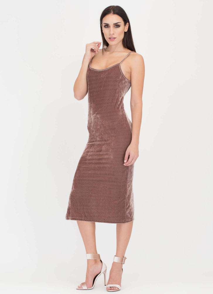 Vote Velvet Open Back Slip Dress MAUVE