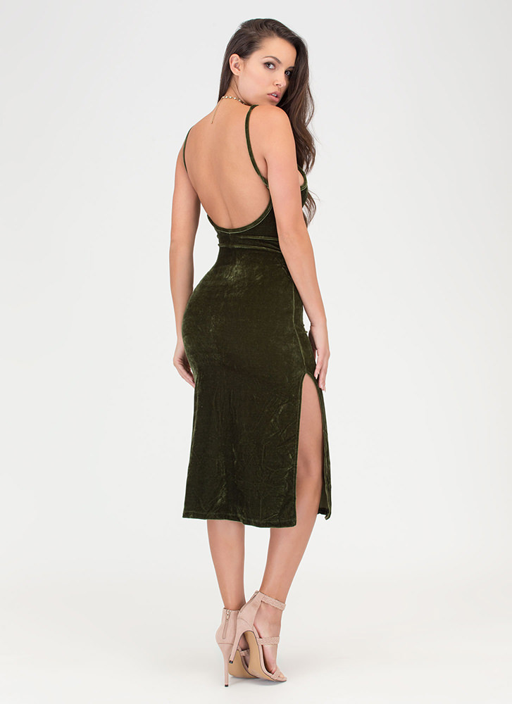 Vote Velvet Open Back Slip Dress OLIVE