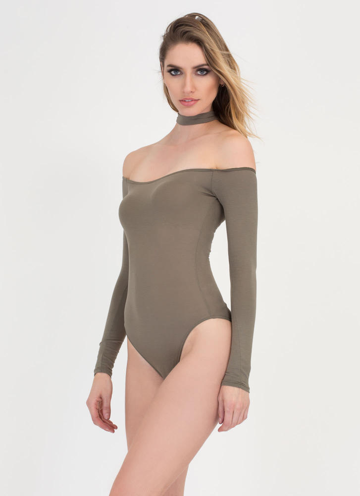 Connected Off-Shoulder Choker Bodysuit OLIVE