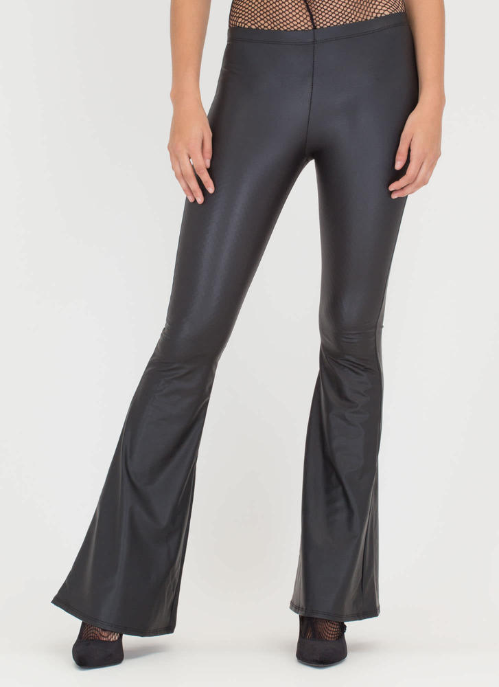 City Slicker Coated Flared Pants BLACK