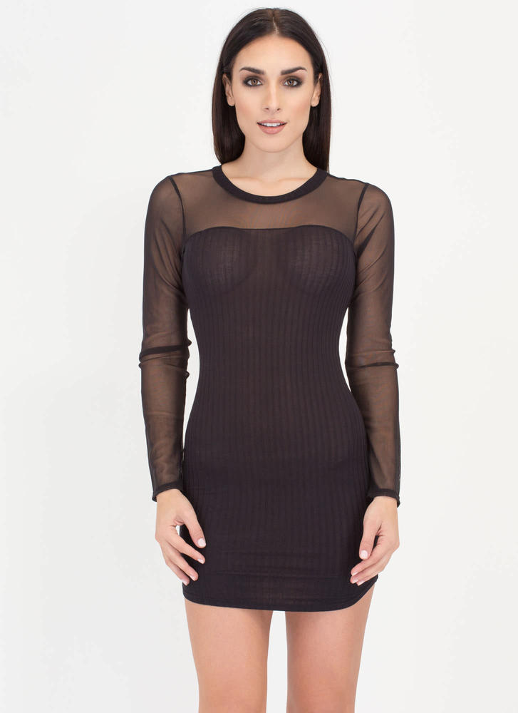 Sheerly Chic Mesh Sleeve Minidress BLACK
