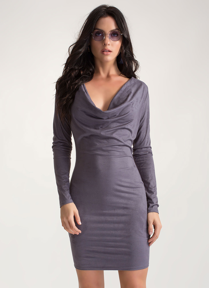 Drape It Plunging Faux Suede Dress GREY