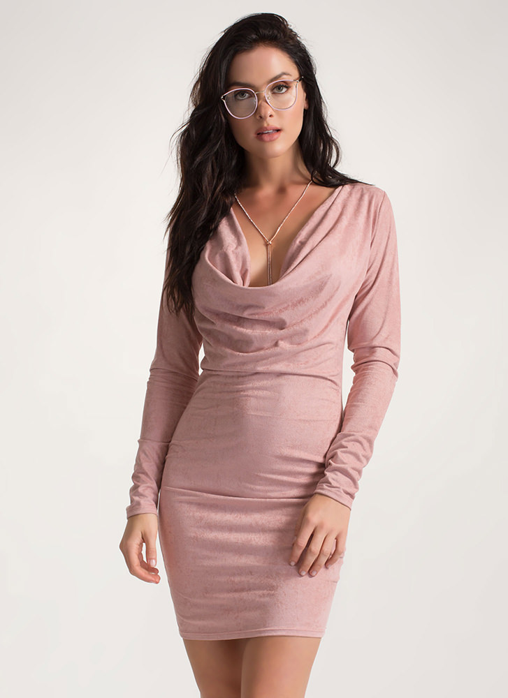 Drape It Plunging Faux Suede Dress PINK
