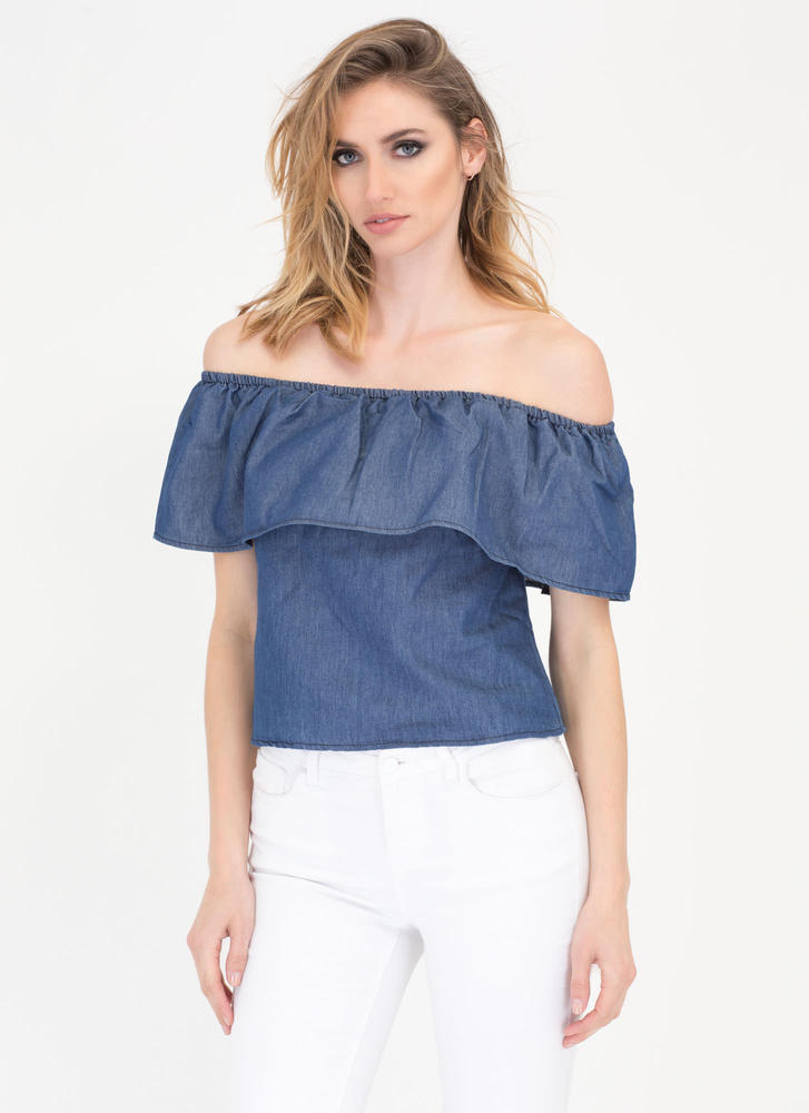 You Flirt Off-Shoulder Chambray Top