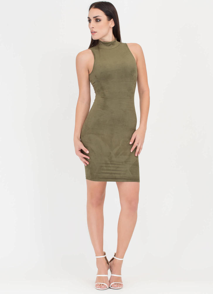 With A Twist Back Faux Suede Dress OLIVE