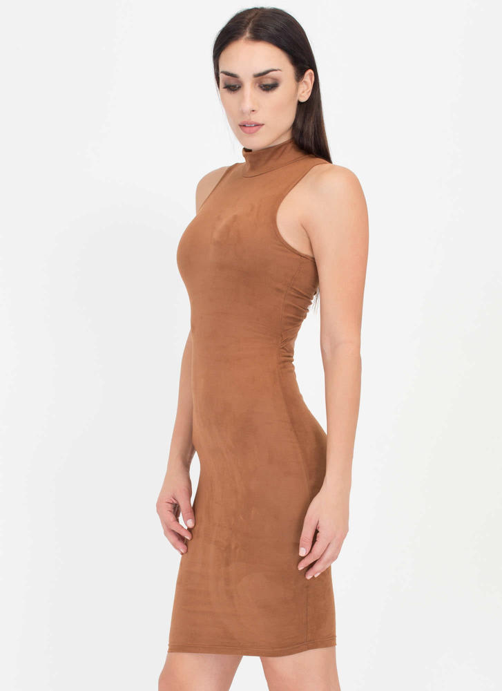 With A Twist Back Faux Suede Dress TAUPE
