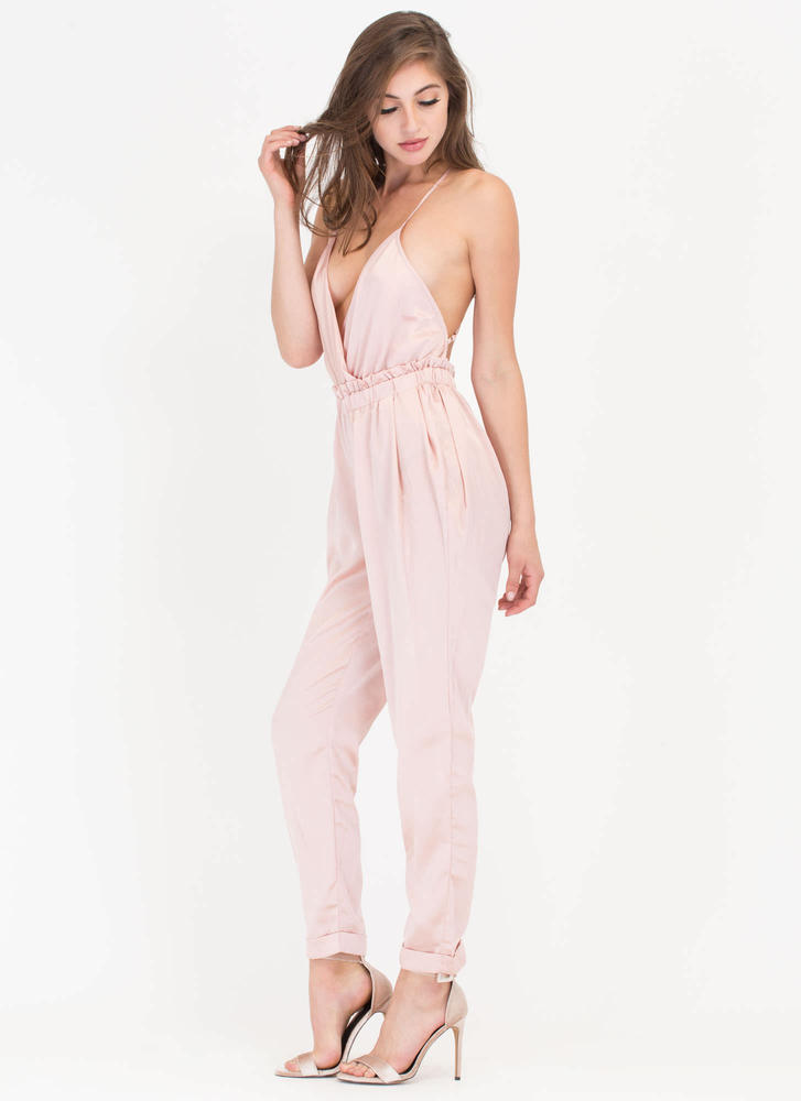 Nights Out Plunging Satin Jumpsuit MAUVE