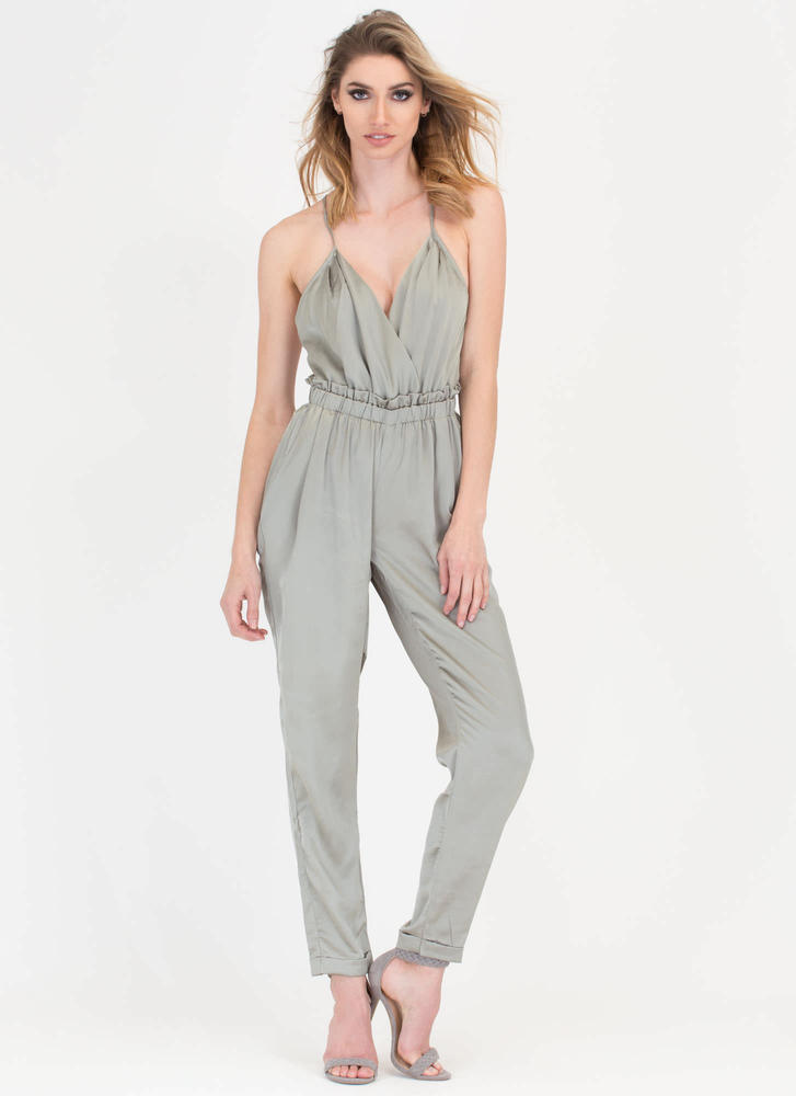 Nights Out Plunging Satin Jumpsuit