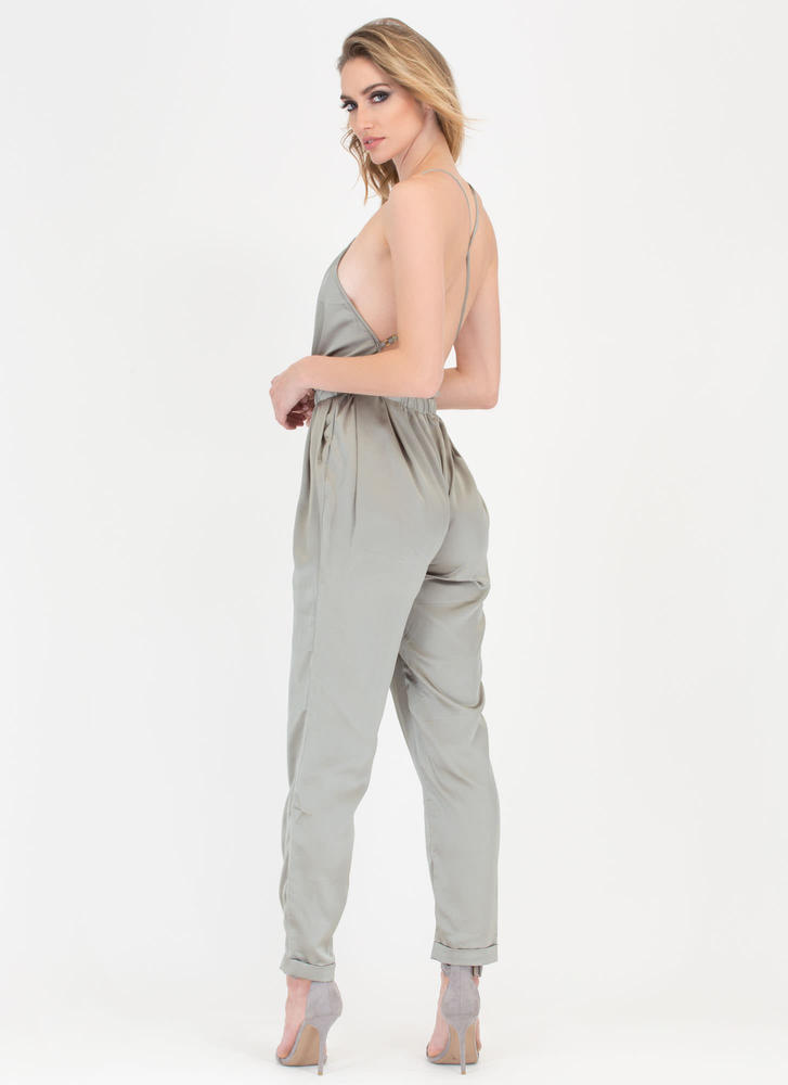 Nights Out Plunging Satin Jumpsuit OLIVE