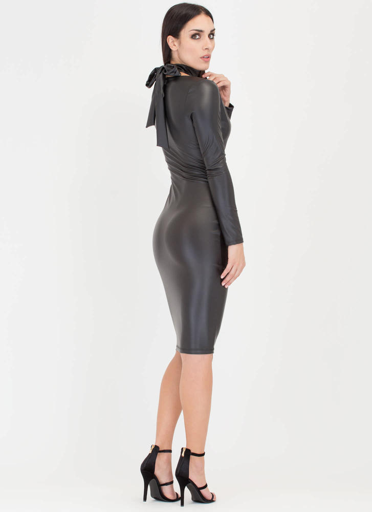 Fit To A T-Strap Faux Leather Dress BLACK