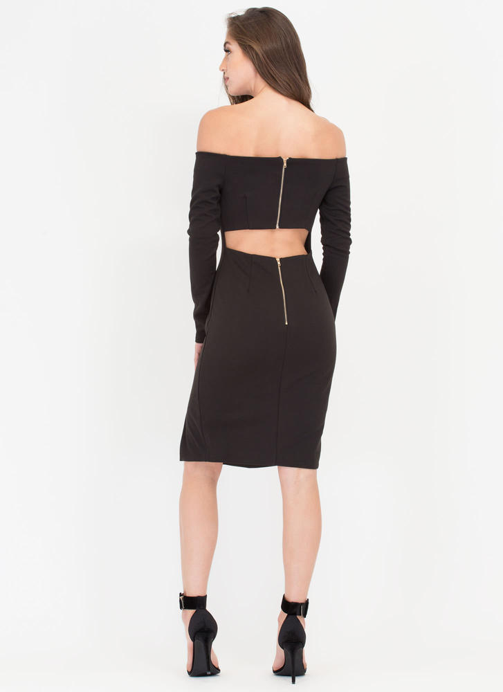 In Charge Off-Shoulder Cut-Out Dress BLACK