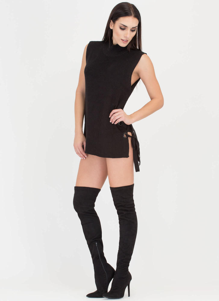 Lace-Up Look Sleeveless Sweater BLACK (Final Sale)