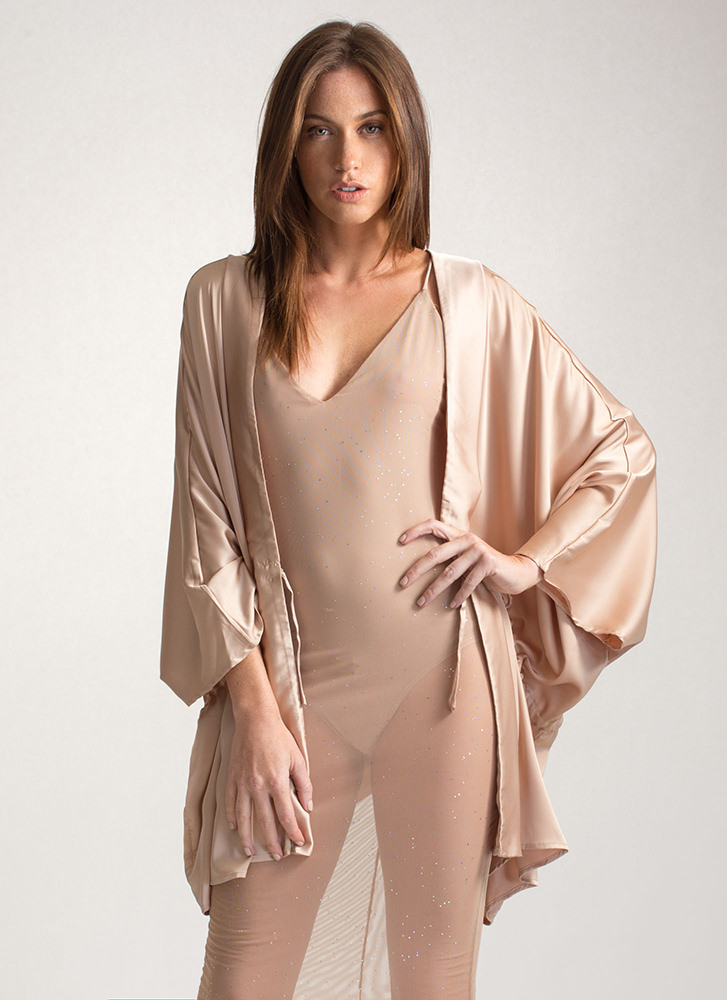 Swoon-er Or Later Satin Kimono Jacket GOLD