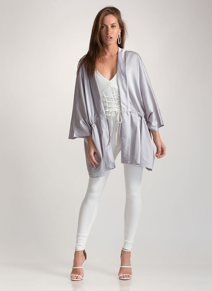 Swoon-er Or Later Satin Kimono Jacket SILVER