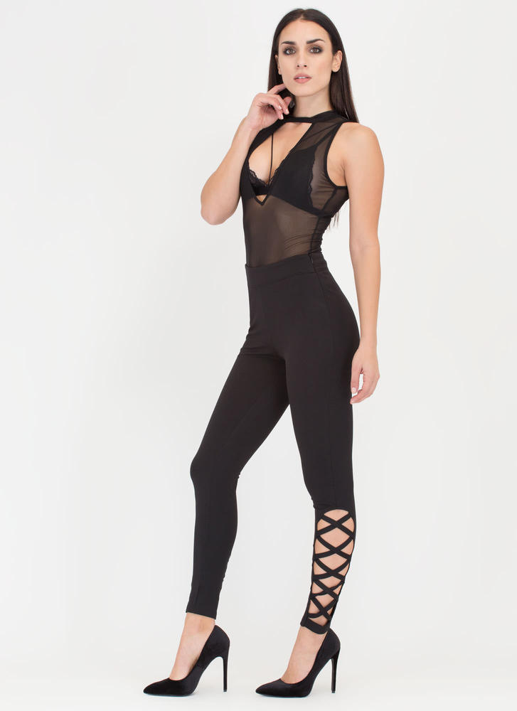 Day And Cage Cut-Out Pants BLACK (Final Sale)