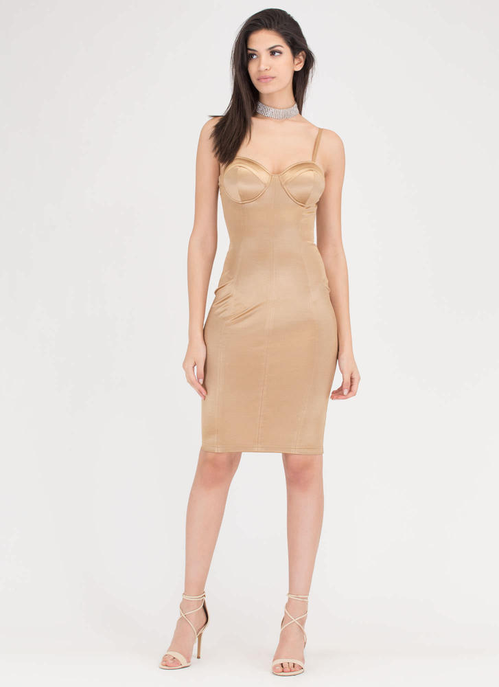 Hot Number Satin Bustier Dress GOLD