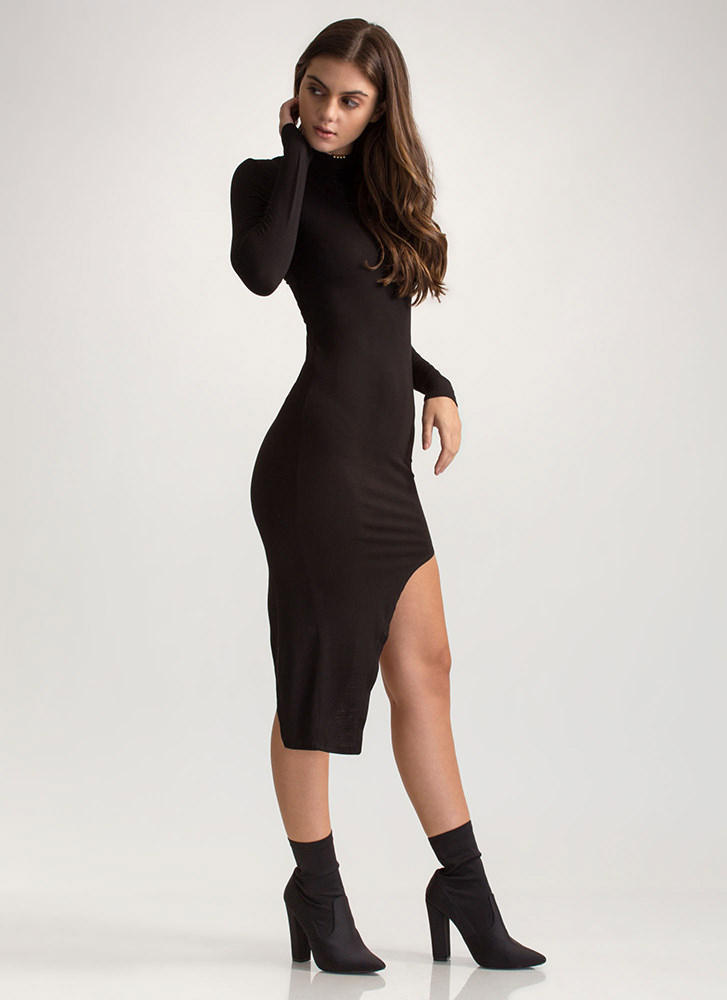 X Game Cut-Out High-Low Bodycon Dress BLACK