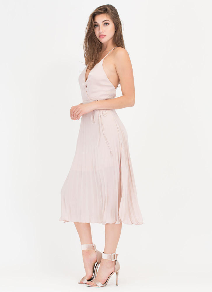 Cross Me Plunging 'N Pleated Satin Dress CHAMPAGNE