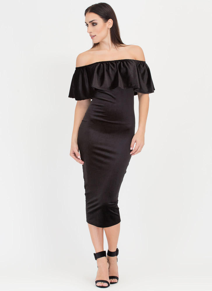 Velvet Vixen Ruffled Off-Shoulder Dress BLACK