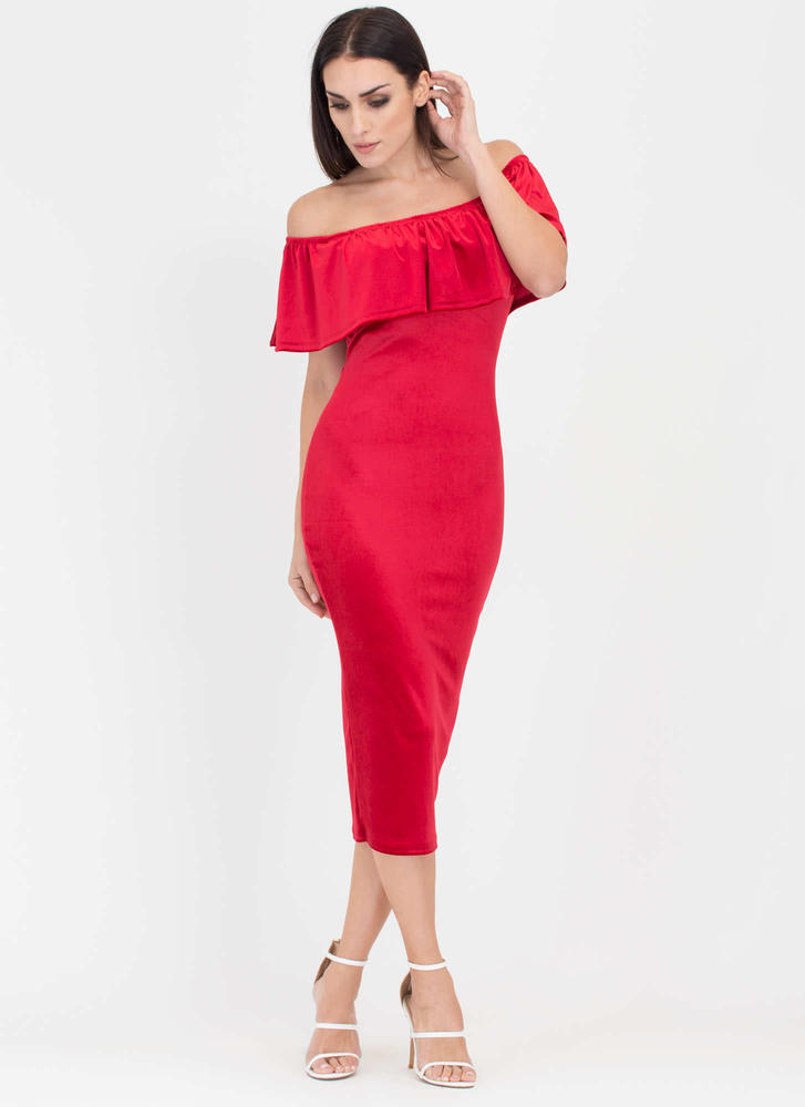 Velvet Vixen Ruffled Off-Shoulder Dress RED