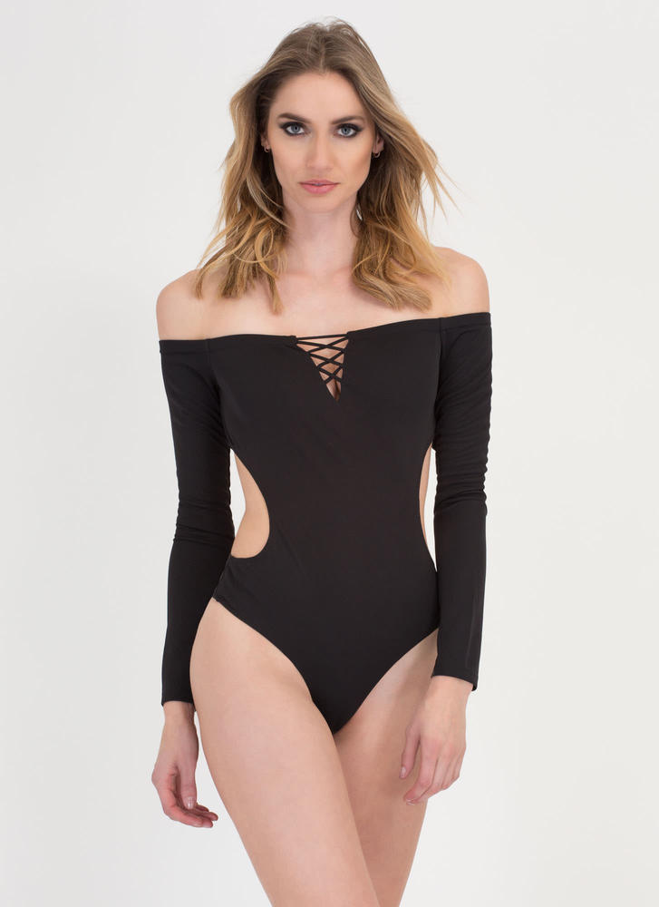 X Woman Off-Shoulder Thong Bodysuit