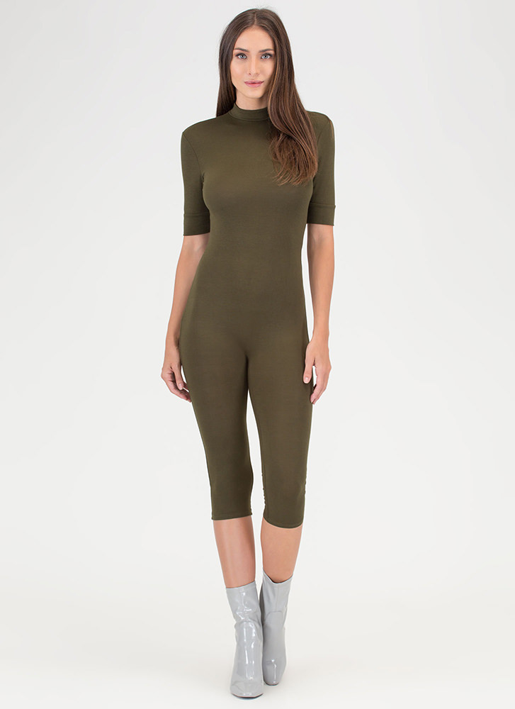 Perfect Bae-sic Cropped Full Bodysuit OLIVE
