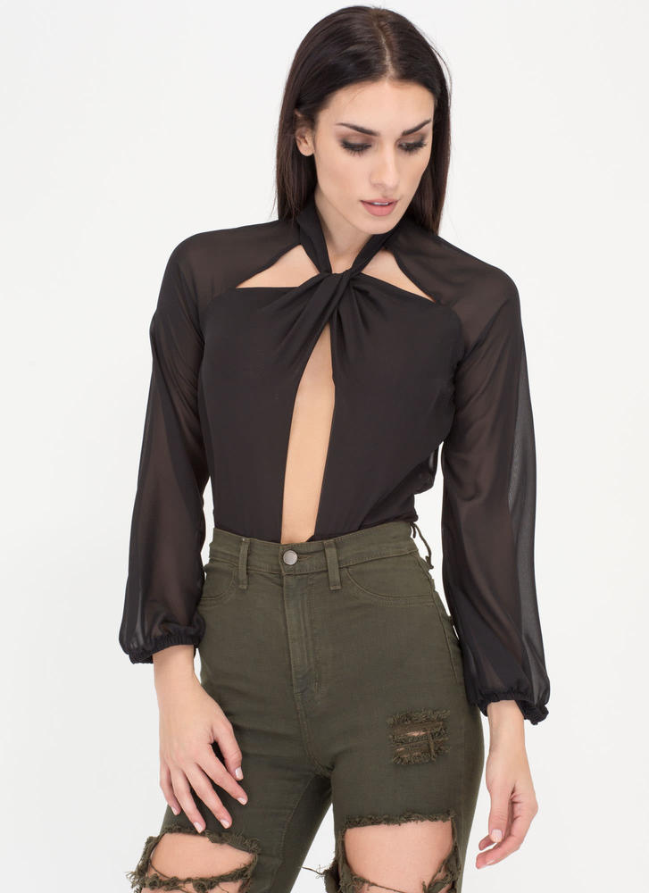 Sheer Bliss Knotted Cut-Out Bodysuit BLACK