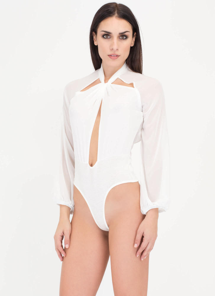 Sheer Bliss Knotted Cut-Out Bodysuit