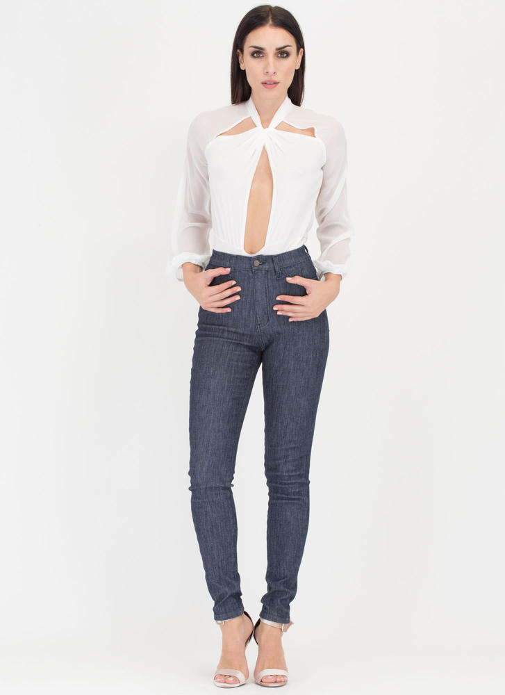 Sheer Bliss Knotted Cut-Out Bodysuit WHITE
