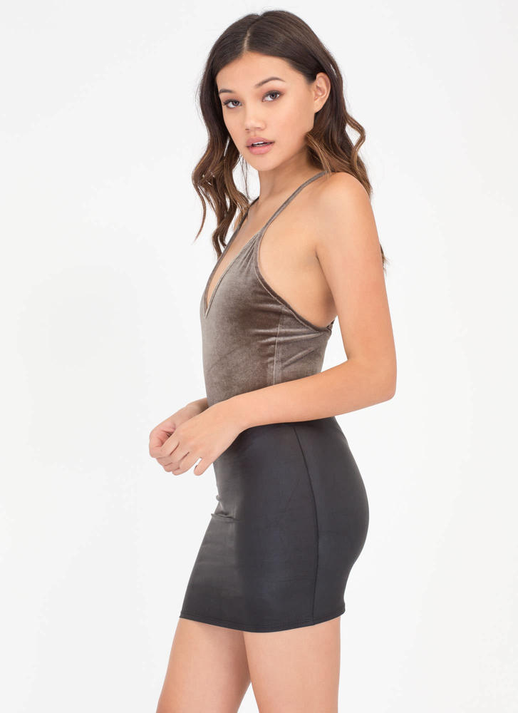 Small Packages Faux Leather Miniskirt BLACK