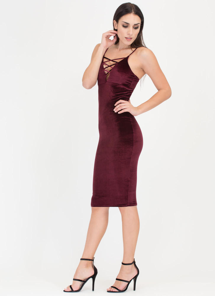 Triple X Strappy Velvet Midi Dress BURGUNDY
