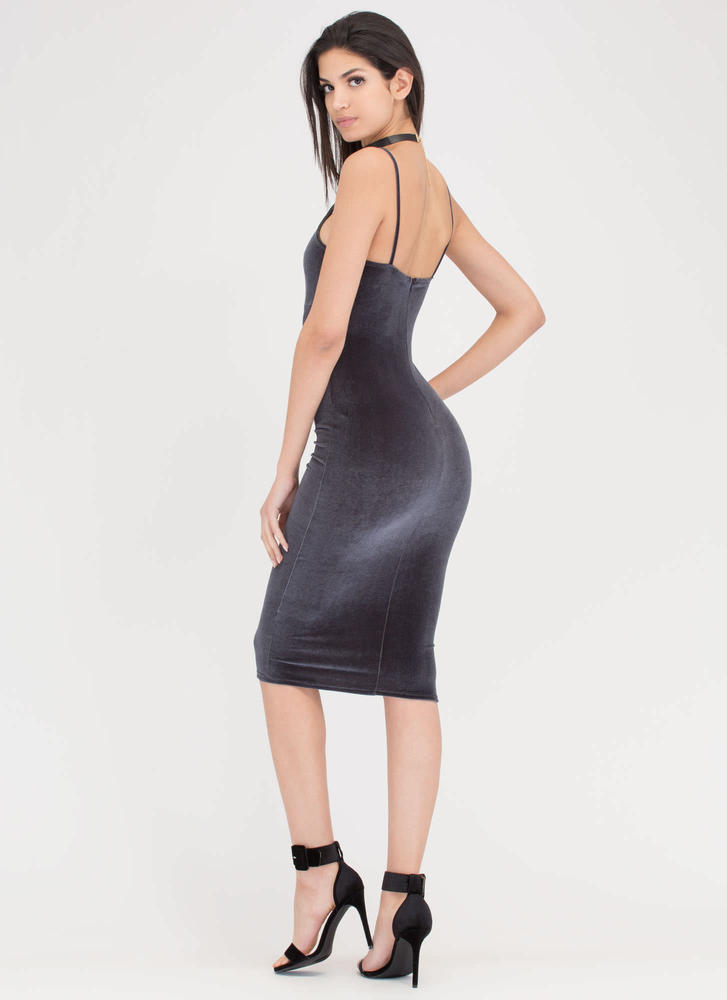 Triple X Strappy Velvet Midi Dress GREY