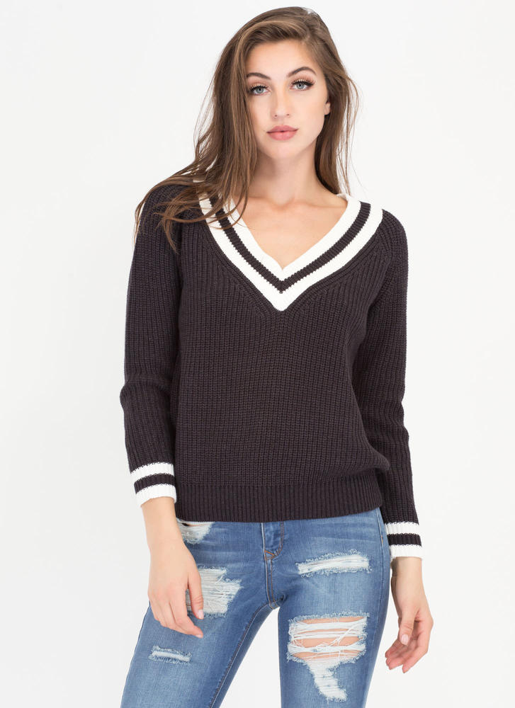 Prep In Your Step Knit Sweater GREY