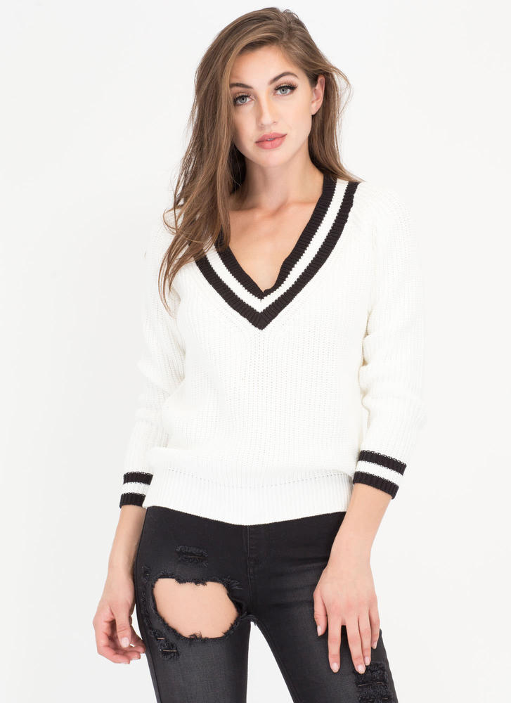 Prep In Your Step Knit Sweater WHITE