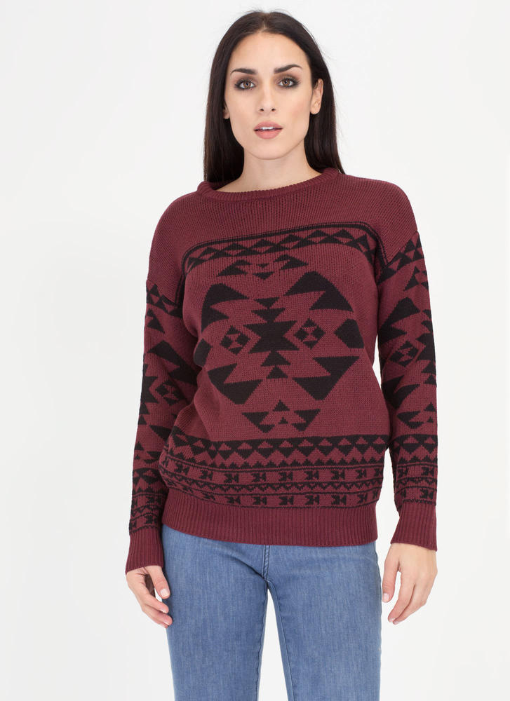 Warm Regards Geo-Tribal Knit Sweater BURGUNDY