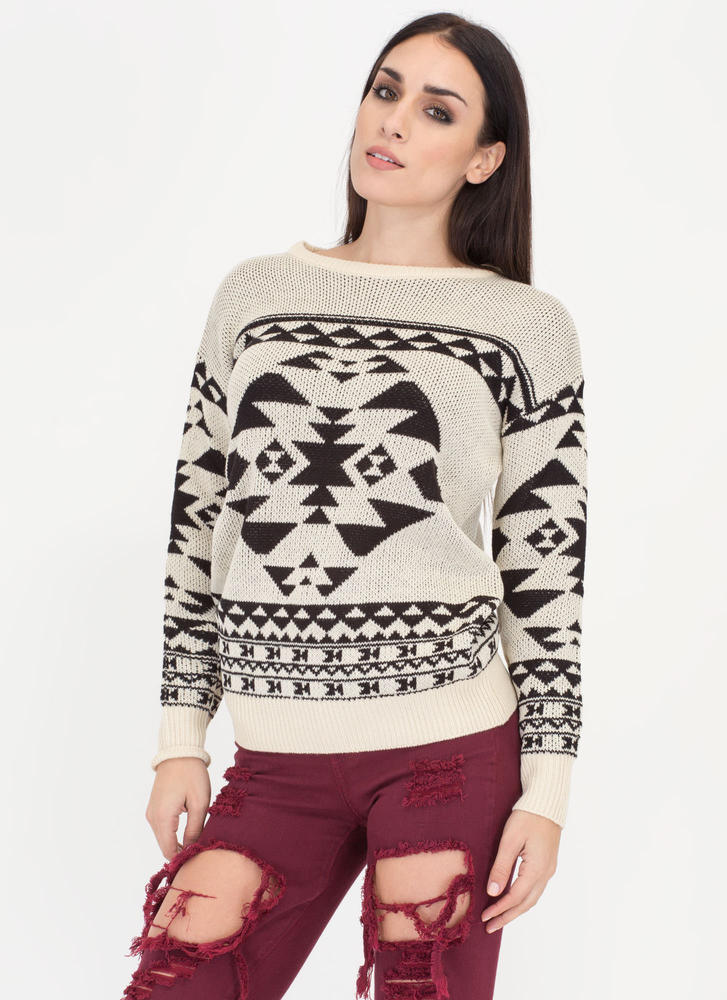 Warm Regards Geo-Tribal Knit Sweater TAUPE