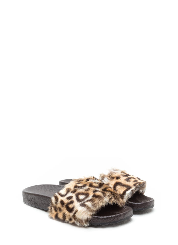 Furry Friends Leopard Slide Sandals CHEETAH