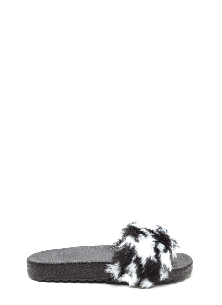 Furry Friends Two-Toned Slide Sandals