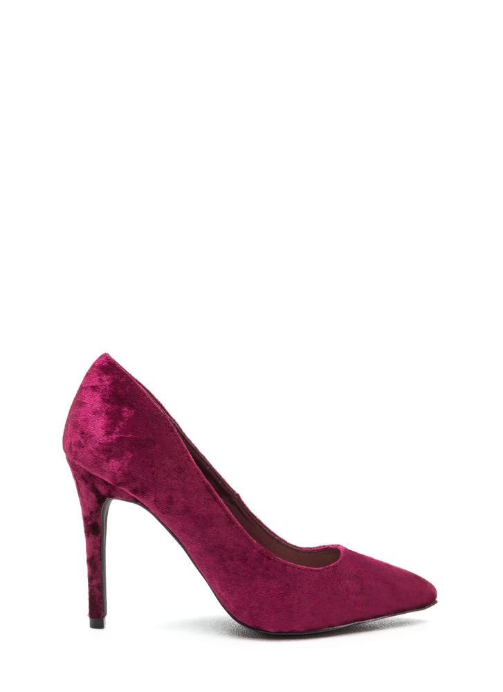 Crushing Blow Pointy Velvet Pumps BURGUNDY