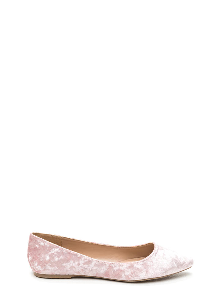 Crushing Blow Pointy Velvet Flats BLUSH