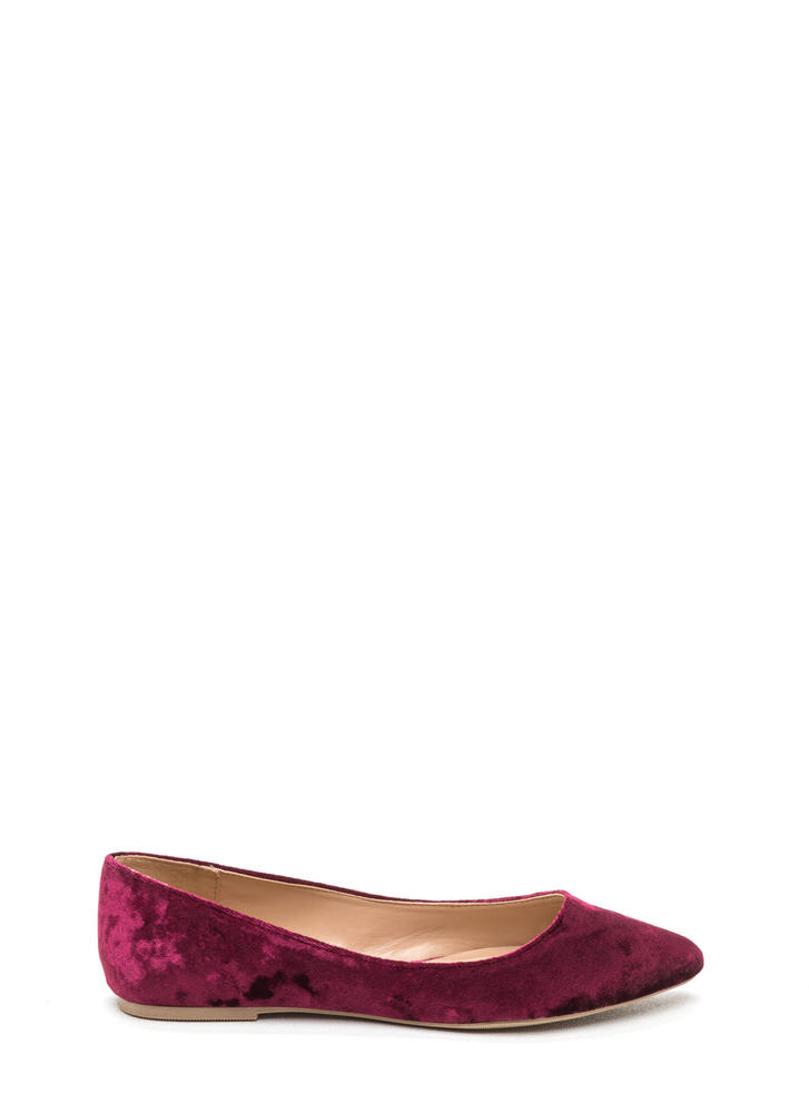 Crushing Blow Pointy Velvet Flats WINE