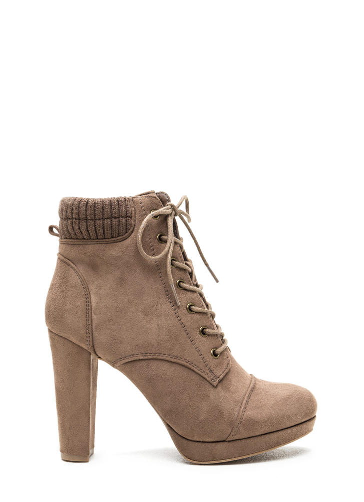 Knit Pick Faux Suede Lace-Up Booties TAUPE